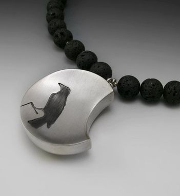 Custom Made Raven With Lava Beads
