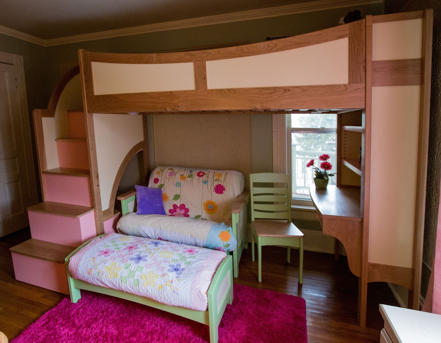 Handmade Girl 39 S Twin Loft Bunk Bed With Stairs Futon And Desk By Sahn Lee Crafts Llc