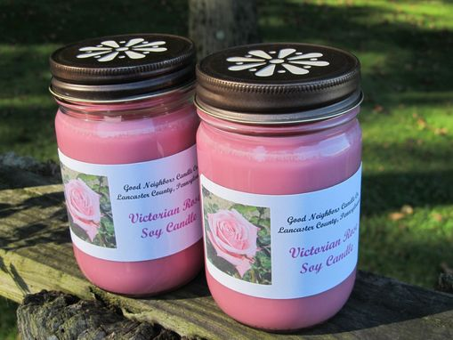 Custom Made Soy Candle,Victorian Rose,12 Ounce Jelly Jar With Daisy Cut Lid,Pink,Floral,Hemp,Cotton Or Wood Wick