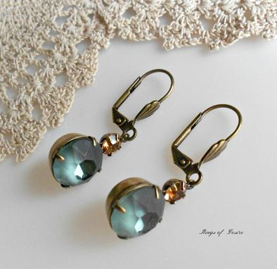 Custom Made Earrings Vintage Swarovski Crystals In Blue Grey And Light Smokey Topaz With Brass Earwires
