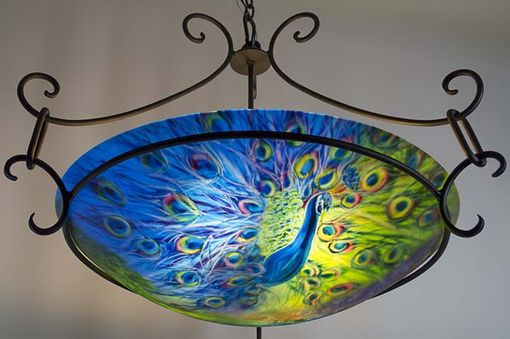 Custom Made Peacock Blues Painted Glass Chandelier