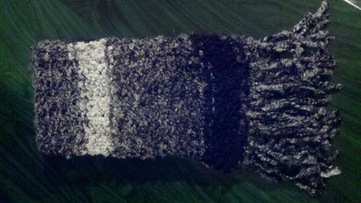 Custom Made Black/White/Grey Knitted Fluffy Scarf