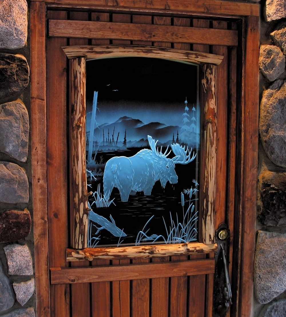 Handmade Illuminated Carved Etched Glass Moose Door By