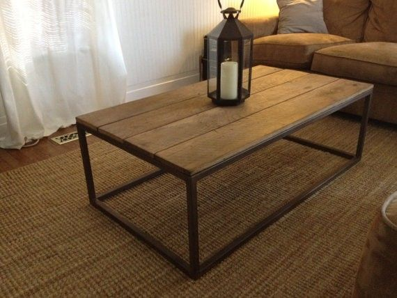 Hand Made Welded Base Coffee Table With Reclaimed Wood Top By - Welded table base