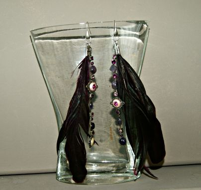 Custom Made Ooak - Feathers And Repurposed Necklace Upcycled Into Long Earrings