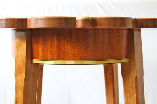 Custom Made Cherry Petal Table With Maple And Walnut Inlays
