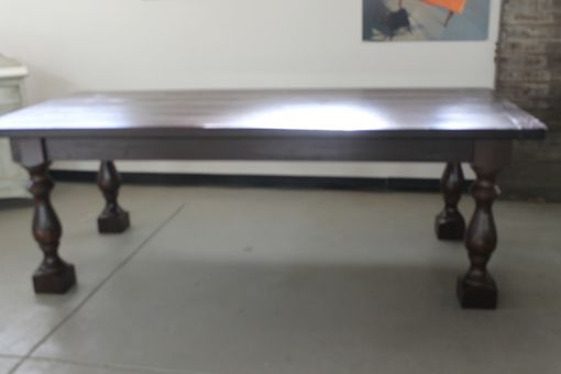 Custom Made Custom Thick Turned Leg Farmhouse Table. Inspired By Restoration Hardware
