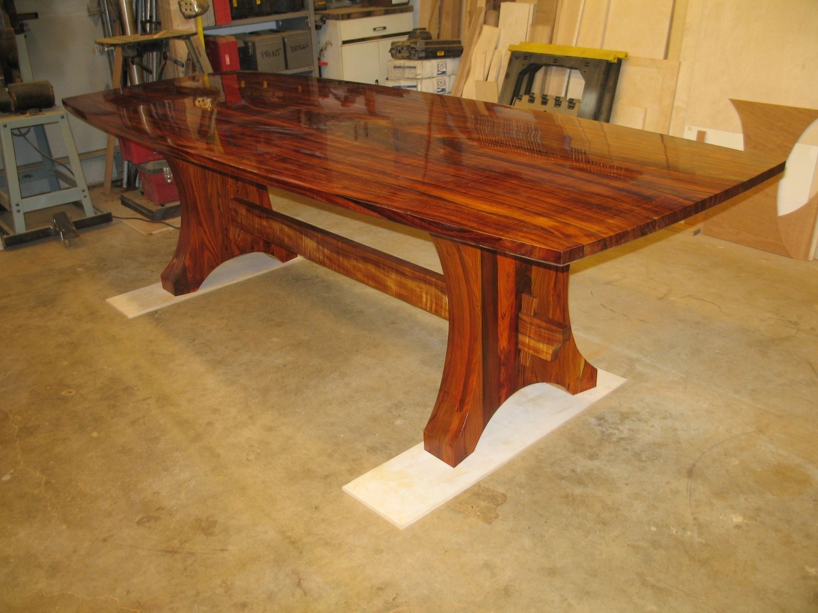 Custom Made Curly Koa And Cocobolo Dining Set