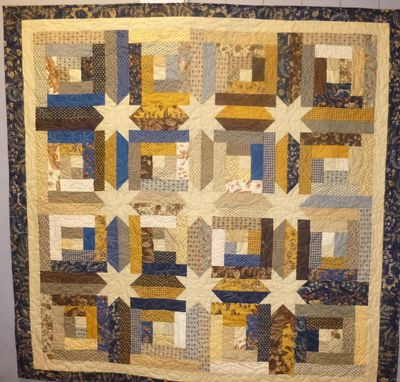 Custom Made Custom Made Log Cabin Star Throw Quilt