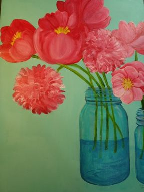 Custom Made Pink Peonies In Aqua Canning Jar Floral Painting Original Flowers Artwork On Canvas, 18 X 24
