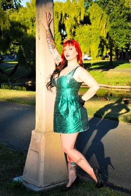 Custom Made Mermaid Mini Dress With Swarovski Crystals
