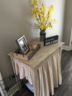 Custom Made Antiqued Distressed Finished Table With Skirts.