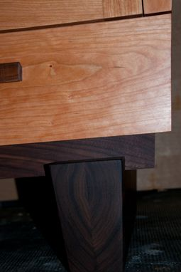 Custom Made Live Edge Curly Cherry, Walnut And American Lacewood Cabinet.