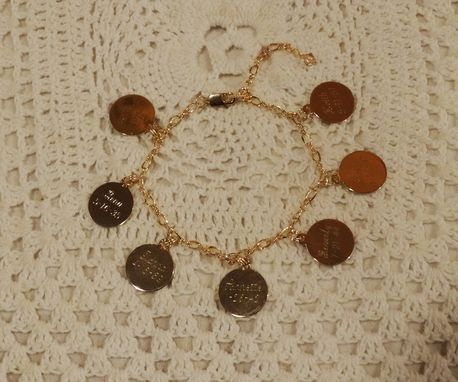 Custom Made Gold Vermeil Charm Bracelet - Siblings Bracelet, Engraved Name & Date Charms, Family Bracelet