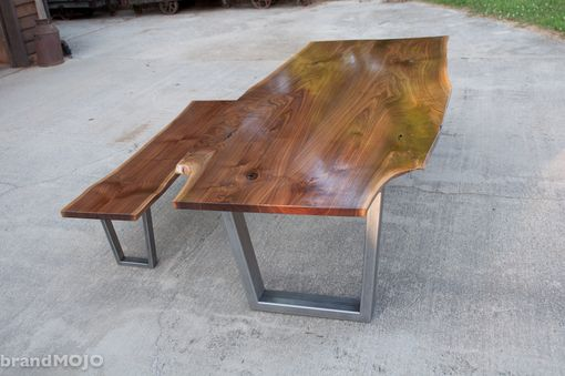 Custom Made Live Edge Walnut Dining Table With Steel Legs And Optional Bench