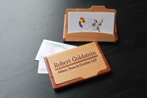 Custom Made Custom Maple Rosewood Card Holder, Engraved Card Holder --Bch-Mr-Goldstein