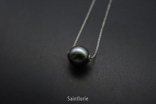 Custom Made 9.5mm Tahitian Pearl Necklace (Peacock Color)