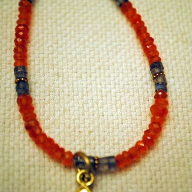 Custom Made Citrine And Buddha Orange And Gold Necklace