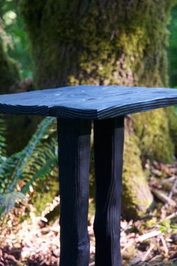 Custom Made Charred Furrow Side Table