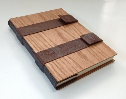 Custom Made Book Bound In Wood And Leather, Cream-Color Lined Pages, Closes With Magnetic Snaps.