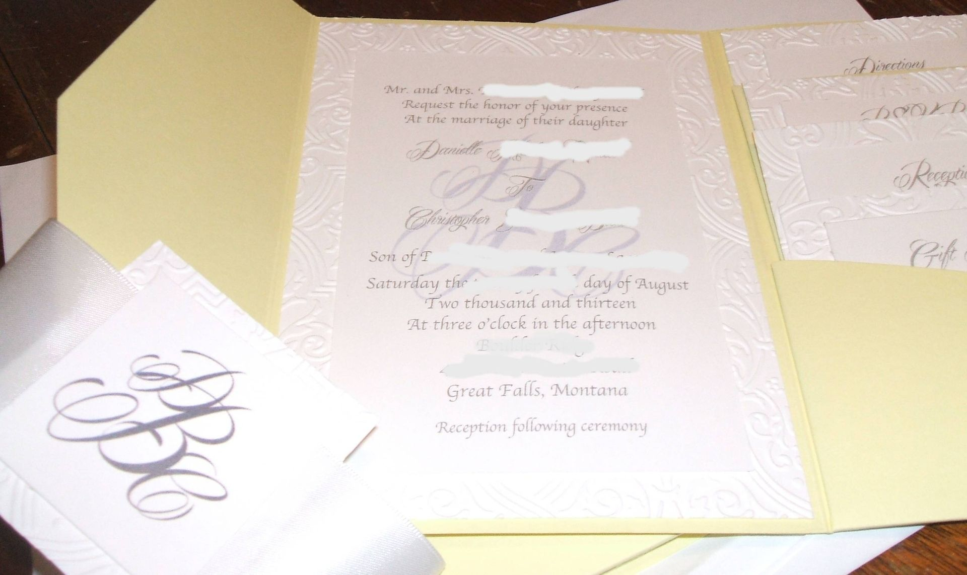 Wedding Invitations Paper: Custom Damask Embossed Wedding Invitation- Hand Crafted