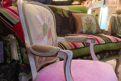 Custom Made Antique Hand Painted And Distressed Occasional Arm Chair Upholstered In Tricia Guild Fabrics