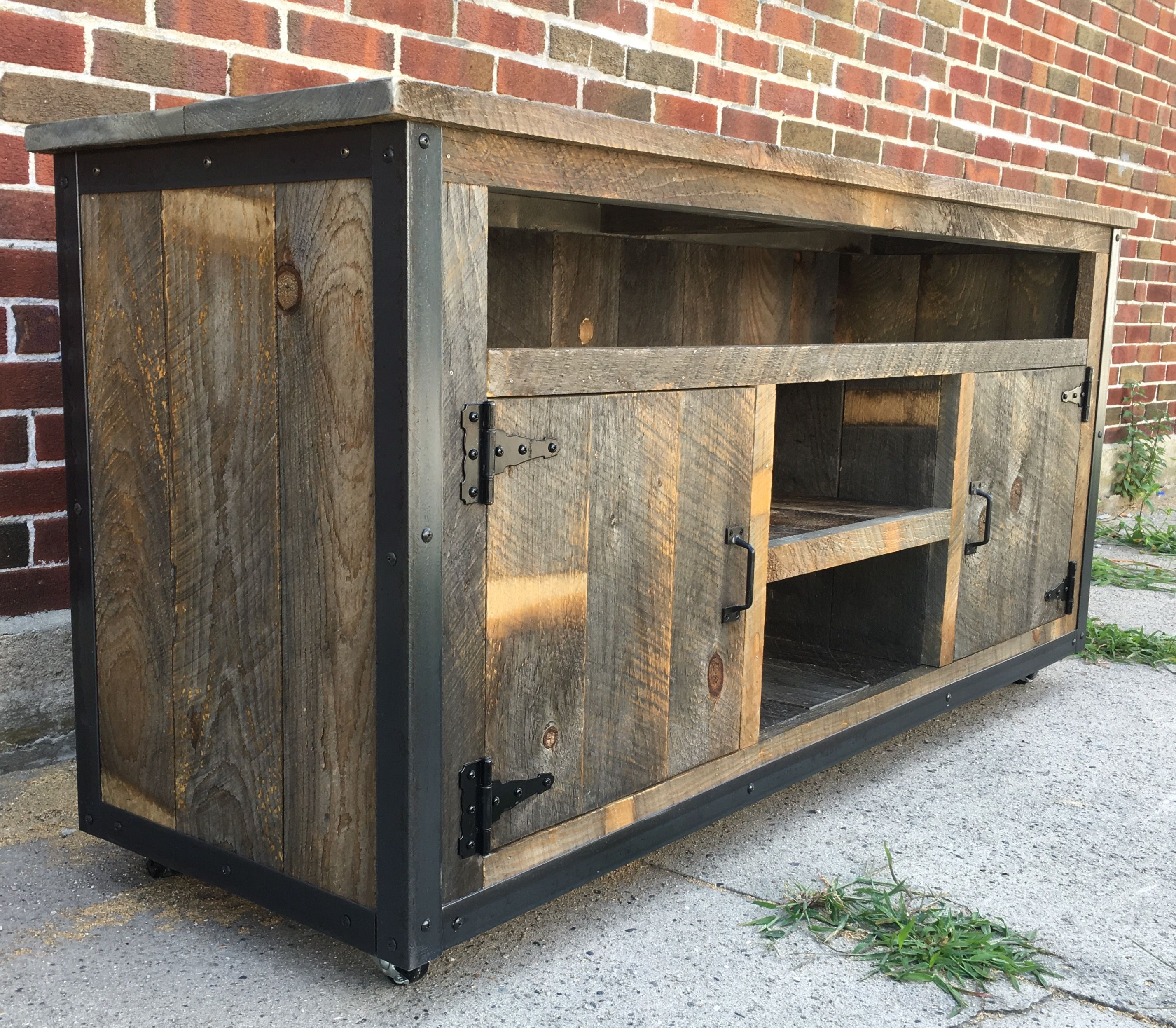 buy a handmade rustic industrial reclaimed wood entertainment center made to order from the. Black Bedroom Furniture Sets. Home Design Ideas