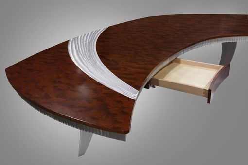 Custom Made Paradigm Executive Desk In Pommele Bubinga & Custom Aluminum Legs
