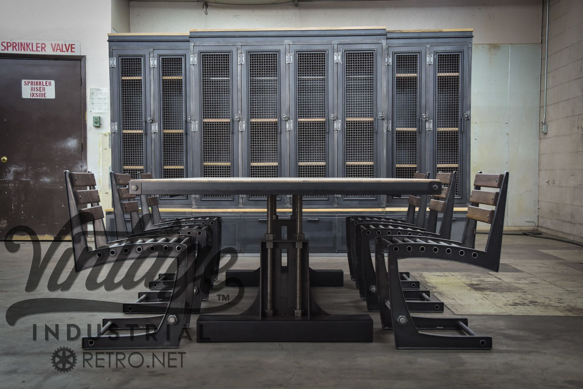 Post industrial conference table vintage industrial furniture - Custom Made Post Industrial Conference Table