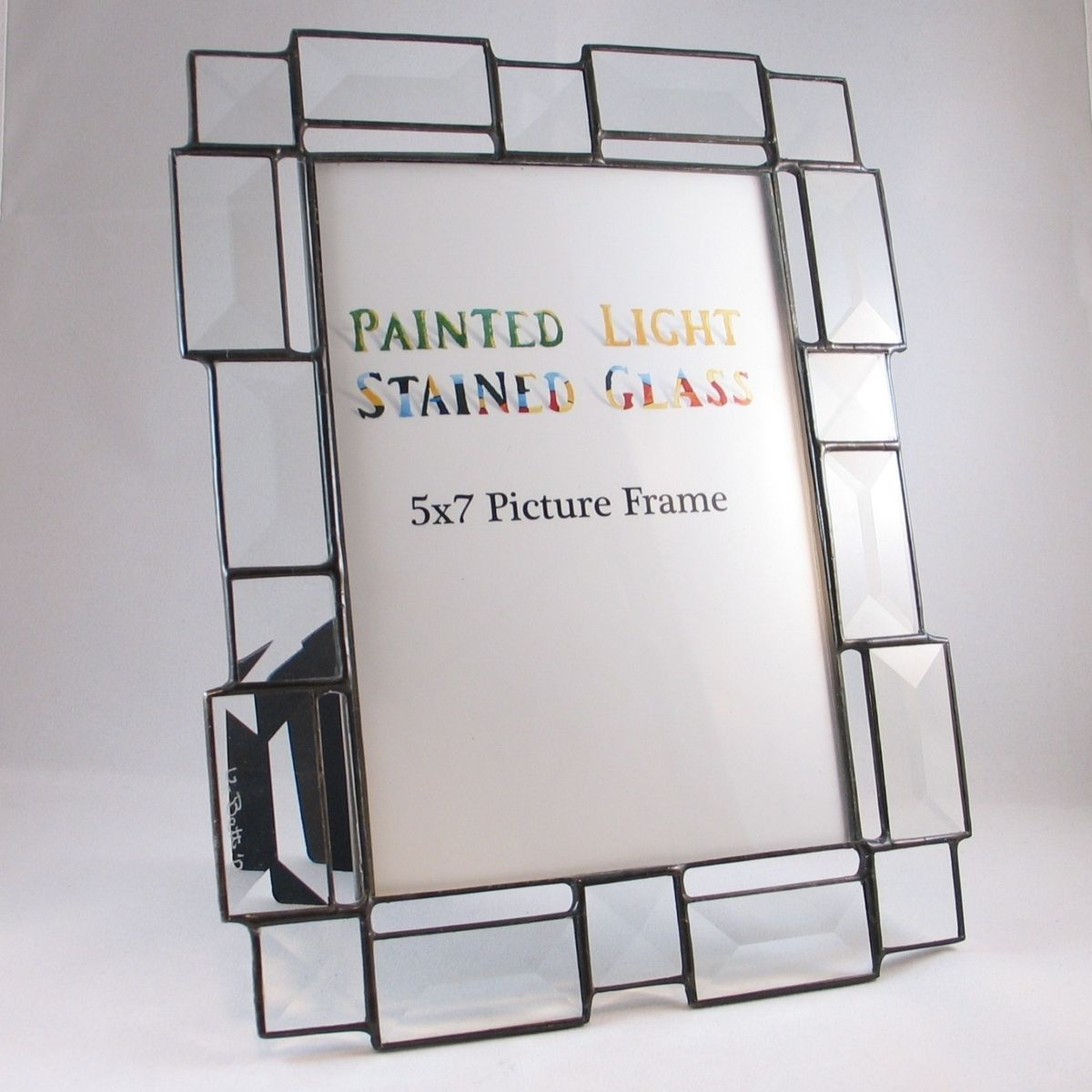 Custom Made 5x7 Stained Glass Bevel Picture Frame By Painted Light
