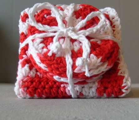 Custom Made Limited Edition Red And White Spa Facial Washcloth And Scrubbie Set