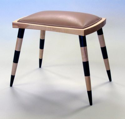 Custom Made Striped Leather Stool