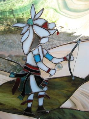 Custom Made Stained Glass Kiva Fireplace Screen