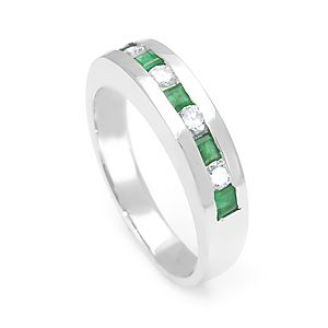 Custom Made Princess Cut Emerald And Round Diamond Band In 14k White Gold, Emerald Band, Colored Stone Band