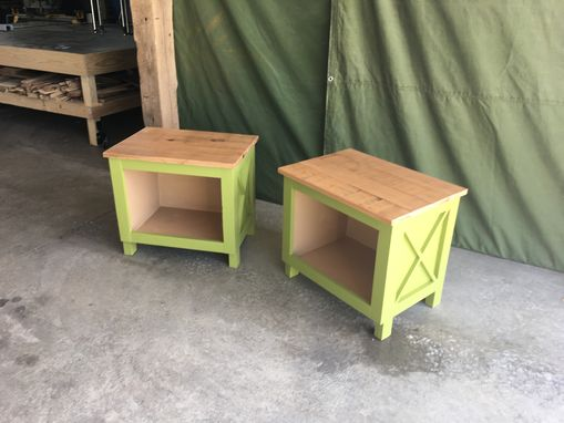 Custom Made Custom Farmhouse, Rustic, Shabby Chic End Table/Side Table/Bedside Table With Reclaimed Wood Top