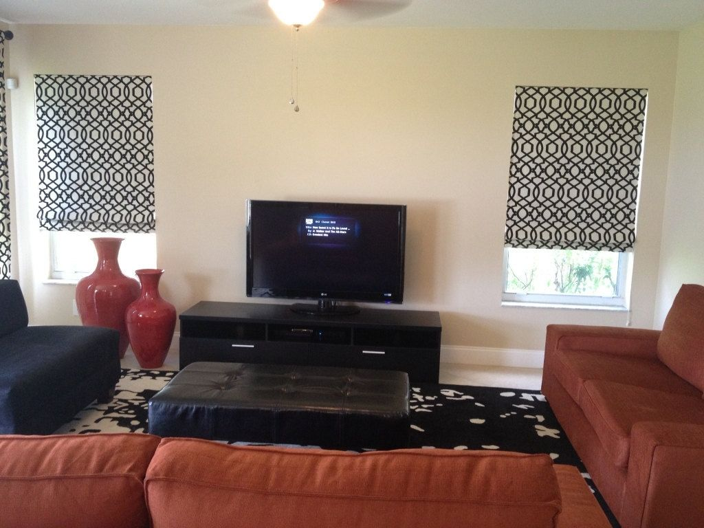 Custom Made Inside Mount Roman Shades And Coordinating Drapery Panels