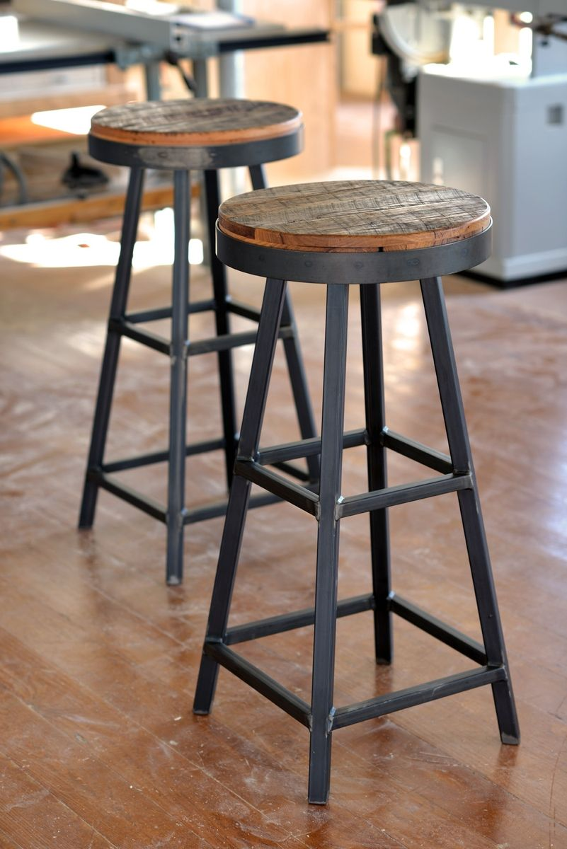 Buy Handmade Reclaimed Barnboard Oak & Custom Raw Steel Bar Stools ...