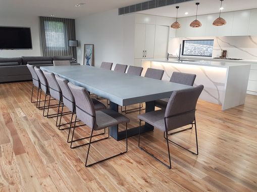 Custom Made Custom Iron And Concrete Dining Room Table