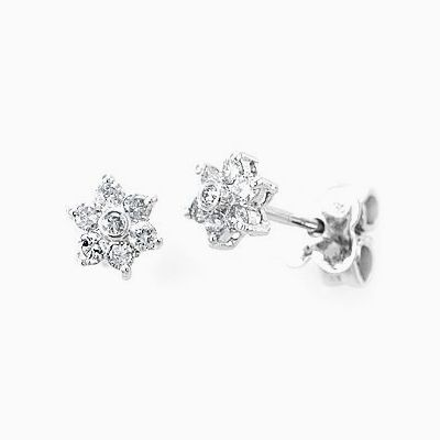Custom Made Star Inspired Diamond Stud Earrings In 18k White Gold Flower