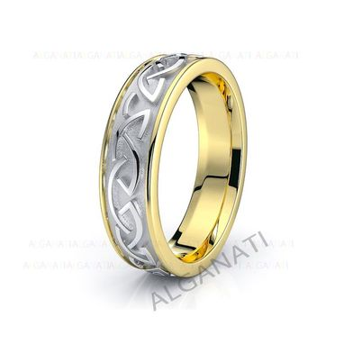 Custom Made 10k White And Yellow Gold - Platinum Celtic Wedding Band Rings