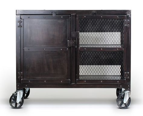 Custom Made Small Industrial Media Wine Cabinet, Tv Stand, Liquor Cart