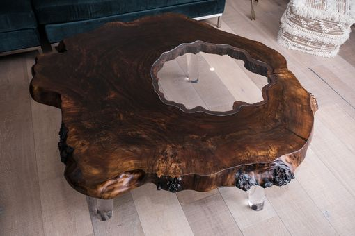 Custom Made Walnut & Lucite Live Edge Modern Coffee Table