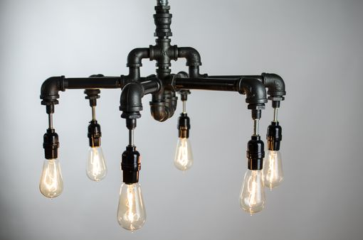 Custom Made 6 Edison Bulbs Industrial Lighting Chandelier
