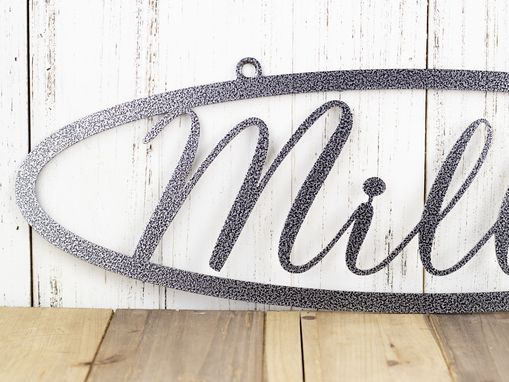 Custom Made Family Name Oblong Metal Sign - Silver Vein Shown