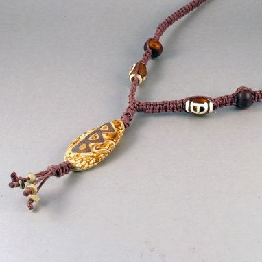 Custom Made Brown Hemp Necklace With Tibetan Agate Pendant