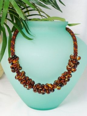 Custom Made Set - Brown, Dark Topaz And Blue Kumihimo Necklace And Matching Earrings