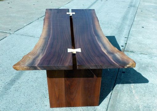 Custom Made Walnut Bookmatched Live Edge Slab Coffee Table