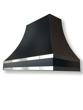 Custom Made #113 E104 Satin Black Powder Coat Range Hood With Stainless Straps