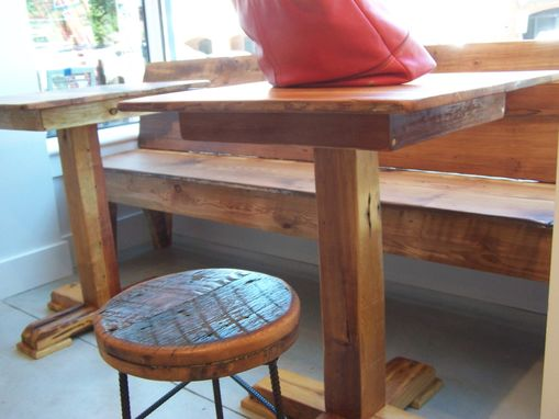 Custom Made Reclaimed Antique Heart Pine Pedestal Pub Table