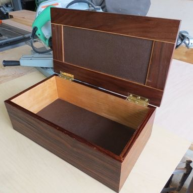 Custom Made Wooden Box From Rosewood, Cherry And Walnut Lined With Stingray Leather